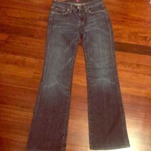 Seven for All Mankind bootcut jeans w/pink detail.
